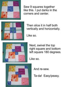 Four Patch Quilts Patterns 4 Patch Quilt Ideas Twist And Turn Four Patch Quilt Pattern Free Disappearing Nine Patch Tutorial - co-nnect.Mockingbird Bay Resort on Norfork Lake ArkansasEasy 4 Patch Quilt Patterns 9 Patch Quilt Patterns For Beginners Free Fo Patchwork Quilting, Scrappy Quilts, Easy Quilts, Quilting Tips, Quilting Tutorials, Quilting Projects, Quilting Designs, Sewing Projects, Quilt Blocks Easy