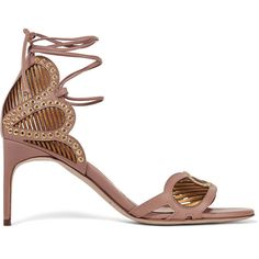 Brian Atwood Gabriela eyelet-embellished leather sandals (£299) ❤ liked on Polyvore featuring shoes, sandals, tan, high heeled footwear, embellished leather sandals, cut out sandals, embellished sandals and tan leather sandals