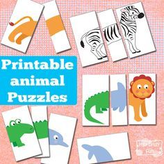Printable Animal Puzzles. These would be an awesome low prep busy bag for kids!!