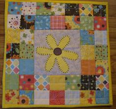 summer quilts | Summer Flower Mini Quilt by QuiltgirlsCreations on Etsy, $30.00