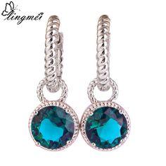lingmei Love Fsshion Round Cut Green CZ Multi-Color Dangle Hook AAA Silver Earrings Jewelry For Women Free Shipping Wholesale