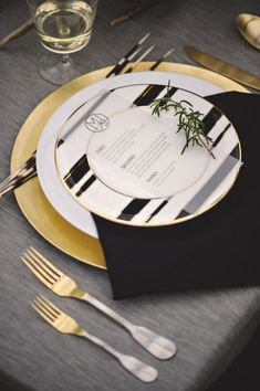 Gold, black and white modern and simple place setting - love the minimalist menu card