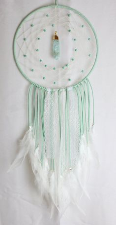 Large Mint Light Green Dream Catcher with Howlite Beads, a Glass & Gold Pendant, White Lace, and White Feathers: