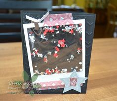 Polaroid Shaker Card with Star Confetti, uses Stampin' Up! On Film Framelits and Confetti Stars Punch