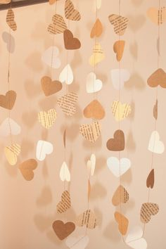 Brown White Old Book pages hearts garland / Heart by MagicWeDo