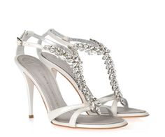 Dream Bridal Shoes by Jimmy Choo and Guiseppe Zanoti Bridal Wedding Shoes, Bridal Sandals, Wedding Dresses, Giuseppe Zanotti Design, Giuseppe Zanotti Heels, Cream Shoes, White Shoes, White Sandals, Rhinestone Sandals