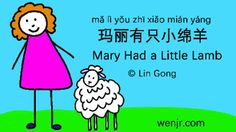 This video with cute original cartoon illustration and Chinese characters, pinyin is created to help children and beginners learn Mandarin Chinese through singing. At the beginning, the creator sings the song, later, a music tone is provided, so a child can sing along with the lyric right away.