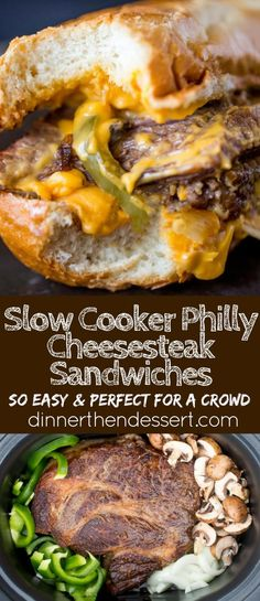Slow Cooker Philly Cheese Steak Sandwiches that are so tender and flavorful you'll feel like you're in Philly. Perfect for a crowd! (Beef Recipes For A Crowd) Crock Pot Slow Cooker, Crock Pot Cooking, Slow Cooker Recipes, Crockpot Recipes, Cooking Recipes, Crockpot Dishes, Teriyaki Chicken, Chicken Curry, Philly Cheese Steaks