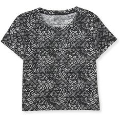 Aeropostale Batik Print Boxy Crop Tee ($2.99) ❤ liked on Polyvore featuring tops, t-shirts, crop top, shirts, boxy crop top, crop tee, tribal print t shirt et aeropostale t shirts