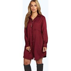 Boohoo Plus Plus Collette Woven Shirt Dress ($35) ❤ liked on Polyvore featuring dresses, berry, shirt dresses, holiday dresses, bodycon dress, red bodycon dress and red cami