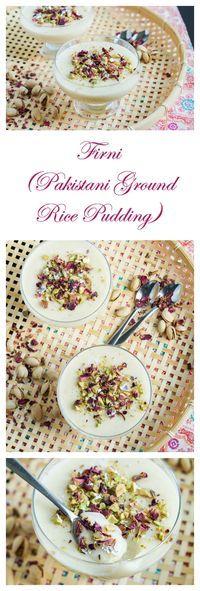 Firni (Pakistani Ground Rice Pudding) Read Recipe by ellysbubble Pakistani Desserts, Pakistani Dishes, Indian Desserts, Indian Dishes, Indian Food Recipes, Pakistani Recipes, Delicious Desserts, Dessert Recipes, Yummy Food