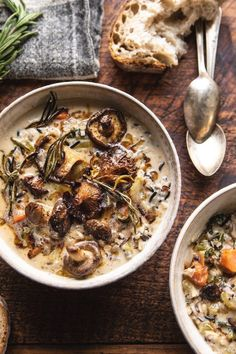 The coziest bowl of Creamy Wild Rice Chicken Soup with Roasted Mushrooms to welcome these cold November nights. An easy and delicious slow cooker meal. Roasted Mushrooms, Stuffed Mushrooms, Chicken Wild Rice Soup, Half Baked Harvest, Health Desserts, Slow Cooker Recipes, Seafood Recipes, Smoothie Recipes, Kids Meals
