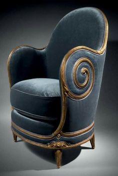 Art deco chair by Paul Iribe Funky Furniture, Unique Furniture, Vintage Furniture, Furniture Design, Furniture Chairs, Art Furniture, Dining Chairs, Muebles Estilo Art Nouveau, Muebles Art Deco