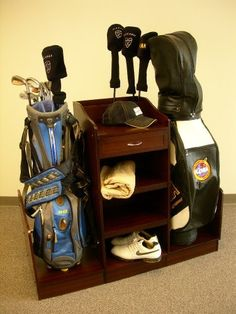 For Dad. $125 Golf Bag Caddie in Medium Walnut Finish by Proman Products, http://www.amazon.com/dp/B002XHWVSC/ref=cm_sw_r_pi_dp_gUTssb150TKH3