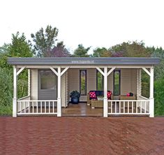 Lugarde Log Cabin with a veranda to enjoy relaxing moments on summer days. Backyard Patio Designs, Backyard Projects, Gazebo Roof, Pergola, Terrace Floor, Architectural Design House Plans, Outdoor Living Rooms, Bungalow House Design, Pool Houses