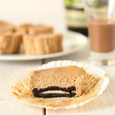 Baileys Irish Cream Individual Cheesecakes - Use gluten free chocolate cookies for base