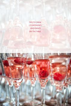Agh, my favorite things (raspberries and sparkling wine)!!! Raspberry Chambord Champagne cocktail...