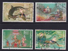"Thailand Stamps,1977 International Letter Writing Week.  ""Thai literature""  Krai Thong, Phra Rot Me Ri, Kaeo Nama, Pla Bu Thong"