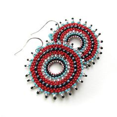 Seed Beaded Earrings Red Blue and Black Hoops by windyriver, $24.00