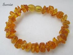 "Baltic Amber Baby Teething Bracelet Anklet -- ""The Sunrise"""