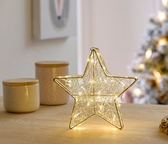 Estrella 3D color plata de 40 luces de 20cm - Leroy Merlin