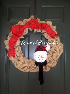 Frosty Burlap Christmas Wreath by RandBmade on Etsy