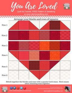 How to lay out your You Are Loved Heart Quilt pattern