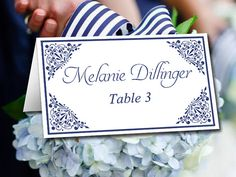 DIY Wedding Place Card Template Navy by PaintTheDayDesigns