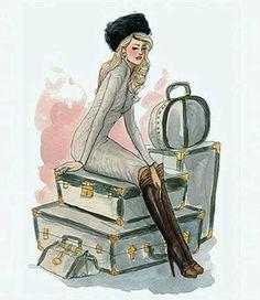 Haynes, Inslee - Woman Sitting w Luggage (Sm-541x625)