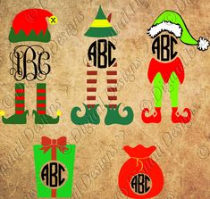 Set of Christmas Elf Monogram Frame Images Clipart Monogram Frames Svg, Png, Dxf, Eps Elf Shoes Elf hat Gift Santa Sack Elf legs by DigitailDesigns on Etsy
