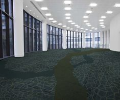 Interface Emerald Roomset - Carpet tiles collections Cellular Mingle, Equilibrium Ability and Urban Retreat 103 Ivy. Perfect for a workspace, a hotel, a library or an airport.