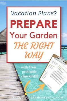 Are you going away on vacation soon? Are you worried that your garden won't survive? Learn simple tips and techniques to prepare your garden for vacation. #vacation #garden Container Plants, Container Gardening, Backyard Layout, Garden Maintenance, Square Foot Gardening, Rainwater Harvesting, Urban Homesteading, Drought Tolerant Plants, Going Away