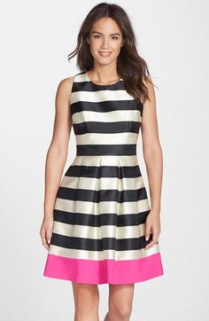 Eliza J Stripe Crepe Fit & Flare Dress #Nordstrom