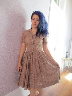 50s Vintage Eyelet Lace Dress Rhinestone buttons medium