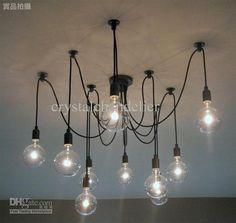 Hot selling modern lamp 10 lights Edison light bulb chandelier aslo for wholesale - Another! Light Bulb Chandelier, Edison Chandelier, Edison Lampe, Edison Lighting, Modern Chandelier, Chandeliers, Lamp Light, Light Fixture, Vintage Light Bulbs