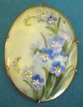Lovely Early 1900's Handpainted Porcelain Brooch with Forget-Me-Nots