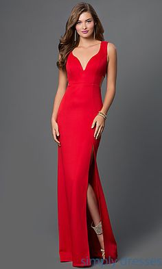 Dresses, Formal, Prom Dresses, Evening Wear: Vivid Red Floor Length Sleeveless Dress with Side Cut Outs by Emerald Sundae