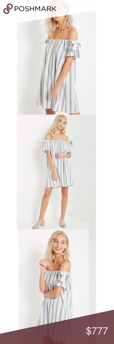 "🆕Arrival! Blue Stripe Off the Shoulder Dre Blue Stripe Off the Shoulder Shift Dress with Bow Tie Detail. Sizes S-M-L. Model is wearing a size S. Model's profile: Height: 5'8"", Bust: 33"", Waist: 24"", Hips: 34"". Length 28.5"" Center front.  100% Cotton. Dresses"