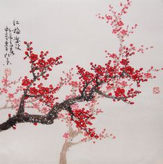 Chinese Art | Original painting oriental art chinese art -Lovely cherry blossom tree ...