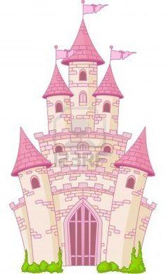 Illustration of a Magic Fairy Tale Princess Castle Stock Photo Pink Castle, Princess Castle, Pink Princess, Vector Design, Vector Art, Child Draw, Castle Vector, Cute Clipart, Pink Sky