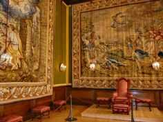 The king's presence chamber in Hampton Court Palace is home to two tapestries-the only surviving tapestries from the King's Wardrobe in the Tower of London-known as the Triumphs of the Gods