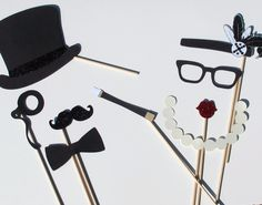Wedding Photo Booth Props - 1920's Inspired Props, Perfect addition to any set. $30.00, via Etsy.