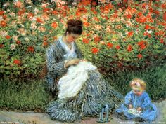 Claude Monet - Camille Monet and a child in the artist's garden in Argenteuil (1875)