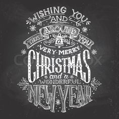 Stock vector of 'Vintage hand-lettering Christmas and New Year wishes with chalk on blackboard background, greeting card'