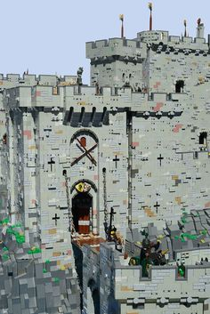 The heavily fortified gatehouse includes a drawbridge, portcullis, two sets of large wooden doors, murder holes and a series of large machicolations to drop rocks or boiling water onto would-be intruders. Lego Burg, Lego Structures, Lego Tree, Lego Boards, The Joy Of Painting, Brick In The Wall, Brick Texture, Lego Castle, Fantasy Castle