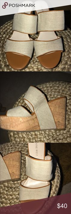 Nine West linen and leather wedge cork heels 7.5 Adorable linen and leather wedge heels by Nine West. Heels are ~4.5 inches high. Platform tie makes it easier to walk! EUC Nine West Shoes Platforms