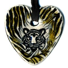 Tiger Ceramic Necklace in Black and Brown by surly on Etsy, $18.00
