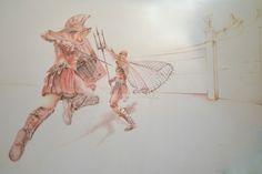 Desenho que fiz com lápis sanguine, Black, amarelo e laranja, mostrando uma batalha entre gladiadores no coliseu.