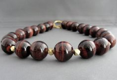 Tigers Eye Necklace Red Tiger Eye Large Bead by WoodstockNYC Tigers Eye Necklace, Beaded Necklace, Beaded Bracelets, Red Tigers Eye, Stylish Plus, We Wear, Jewerly, Beads, Detail