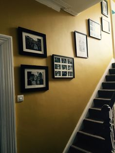 Mustard Feature Wall, Hall stairs and landing Dulux endurance paint- honey mustard – hallway Stair Walls, Hallway Walls, Carpet Stairs, Hallways, Stairs Feature Wall, Feature Wall Living Room, Yellow Hallway, White Hallway, Bright Hallway